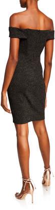Astr Off-the-Shoulder Glitter Sheath Dress