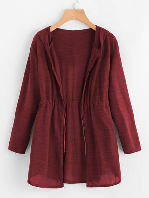 Shein Drawstring Waist Hooded Cardigan