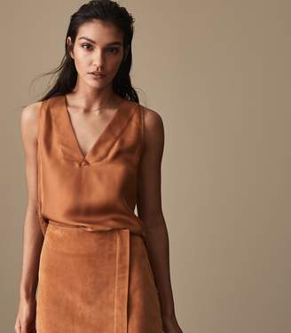 Reiss JORJA PLEAT-DETAIL TANK TOP Rust