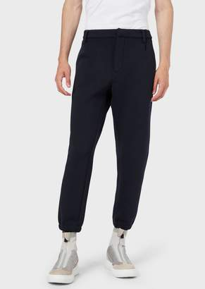 Emporio Armani Micro-Pattern Chino Trousers With Elasticated Cuffs
