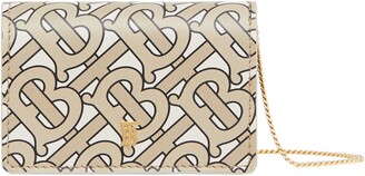 Burberry Monogram Print Leather Card Case with Detachable Strap