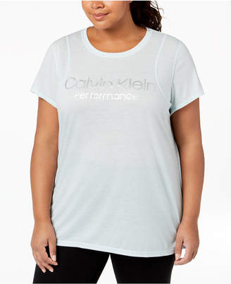 Calvin Klein Plus Size Space-Dyed Pleated-Back Top