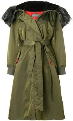 Alberta Ferretti midi belted parka coat