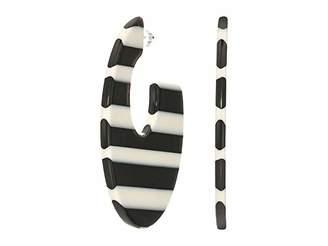 Kenneth Jay Lane 1 3/4 Black and White Striped Resin C Shape Post Earrings