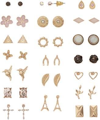Mudd Eiffel Tower, Horseshoe & Hummingbird Stud Earring Set