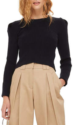Topshop Puff Sleeve Ribbed Sweater