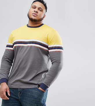 Asos DESIGN Plus relaxed long sleeve t-shirt with chest stripe