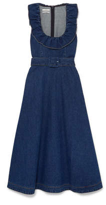 Co Belted Ruffle-trimmed Denim Midi Dress