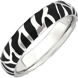 anima Simply Stacks Sterling Black Epoxy Enamel Animal Print Ring