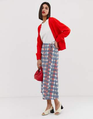Vero Moda textured check midi skirt
