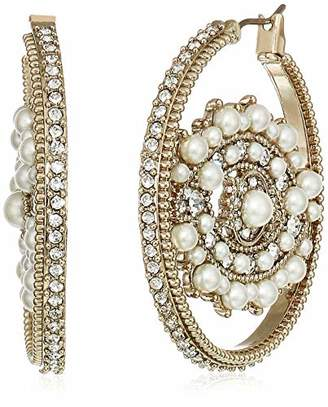 Marchesa Women's White Eye Hoop Earrings