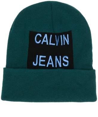 Calvin Klein Jeans embroidered logo beanie