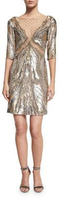 Jenny Packham Half-Sleeve Embellished Sheath Dress, Dawn Gold $3,850 thestylecure.com