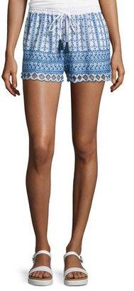 Love Sam Shella Drawstring-Waist Embroidered Shorts, Ecru/Blue $196 thestylecure.com