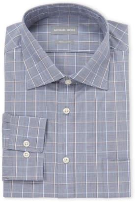 Michael Kors Navy Plaid Regular Fit Dress Shirt