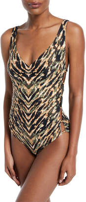 Carmen Marc Valvo Reflections Deep-V Neck Printed One-Piece Swimsuit