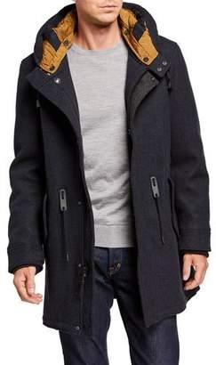 Cole Haan Men's Wool-Blend Parka with Detachable Hood Line