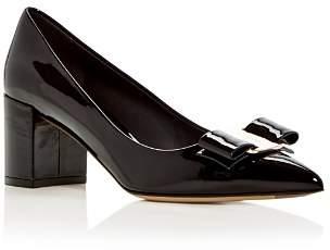 Salvatore Ferragamo Women's Alice 55 Patent Leather Block Heel Pumps