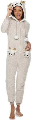 Peace Love & Fashion Juniors' Peace, Love & Fashion Hooded Reindeer One-Piece Pajamas