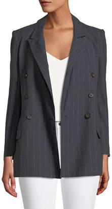 L'Agence Brea Striped Double-Breasted Blazer