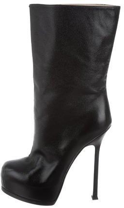 Saint LaurentYves Saint Laurent Leather Platform Ankle Boots