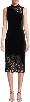 Alice + Olivia Kiana Mock-Neck Lace Combo Dress