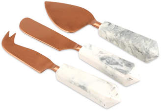 Thirstystone Copper Finish Cheese Set with Faux Marble Handles, Set of 3