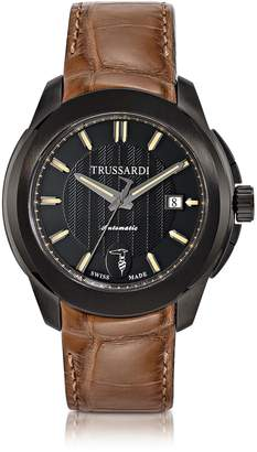 Trussardi T01 Gent Black Stainless Steel w/Brown Croco Strap Men's Automatic Watch