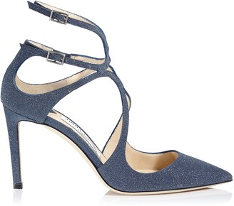 Jimmy Choo LANCER 85 Navy Fine Glitter Leather Pointy Toe Pumps