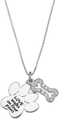 "Charmed By Diamonds CHARMED BY DIAMONDS 1/10 Carat T.W. Diamond Sterling Silver ""Love"" Paw Print Pendant Necklace"