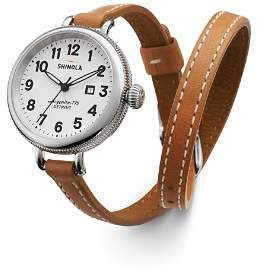 Shinola The Birdy Double Wrap Strap Watch, 34mm