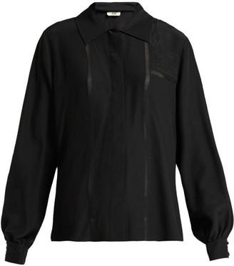 Fendi Silk Chiffon Embroidered Blouse - Womens - Black