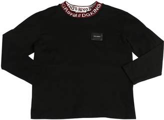 Dolce & Gabbana Logo Collar Jersey Long Sleeve T-Shirt