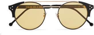 Cutler and Gross Round-Frame Acetate And Two-Tone Metal Sunglasses