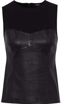 Stretch Knit-Paneled Leather Top