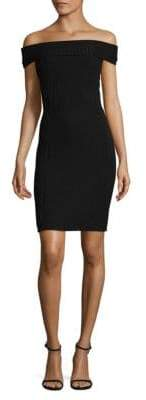 BCBGMAXAZRIA Off-Shoulder Rib-Knit Dress
