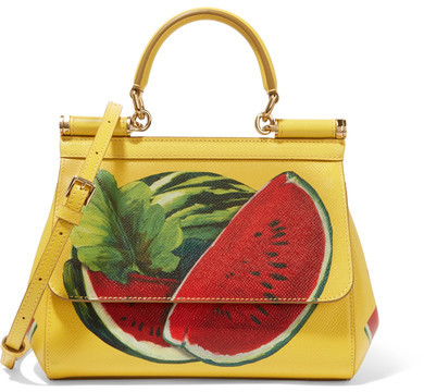 Dolce & Gabbana - Sicily Mini Printed Textured-leather Shoulder Bag - Yellow