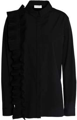 Vionnet Pleated Ruffle-Trimmed Cotton-Blend Poplin Shirt