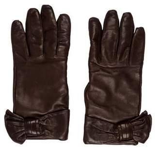 Valentino Leather Embellished Gloves