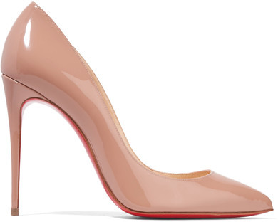 Christian Louboutin - Pigalle Follies 100 Patent-leather Pumps - Beige
