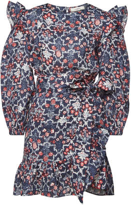 Isabel Marant toile Telicia Printed Linen Dress with Ruffles