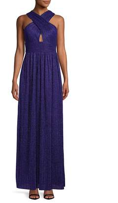 Nicole Miller New York Women's Cross-Front Pleated Gown