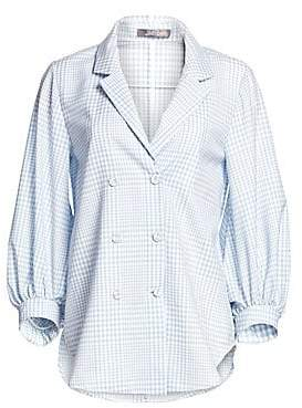 Lela Rose Women's Puffy Sleeve Button Front Gingham Print Blouse