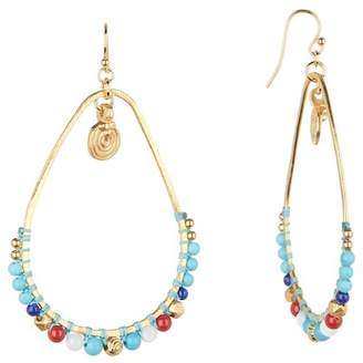 Chan Luu Stone Beaded Frontal Hoop Dangle Earrings