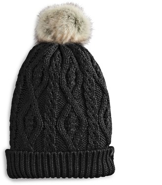80475f9a190 ... Women s Heat Holders Cable Knit Rolled Pom Pom Beanie