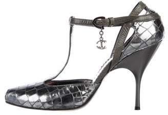 Just Cavalli Metallic Patent Leather Peep-Toe Sandals