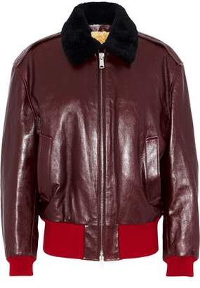 Calvin Klein Shearling-lined Leather Bomber Jacket