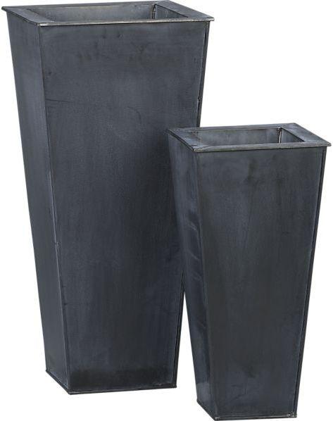 """Crate & Barrel Zinc 27.5"""" Tall Square Planter."""