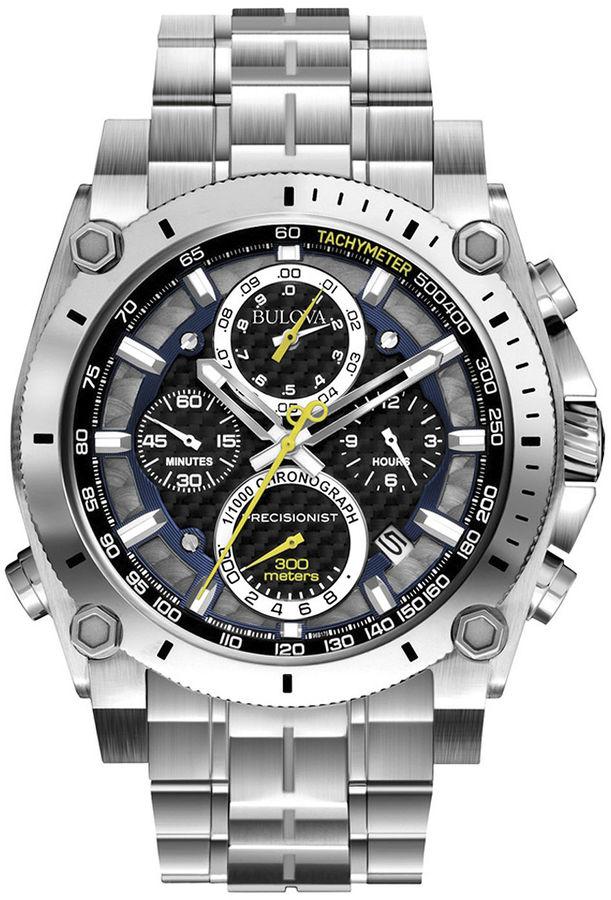Bulova Mens Precisionist Chronograph Silver-Tone Watch 96B175
