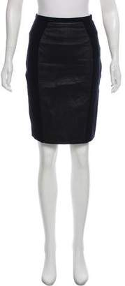 Emilio Pucci Leather-Accented Knee-Length Skirt
